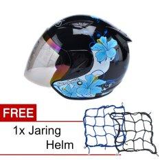 MSR Helmet Javelin - Gardenia - Hitam Biru + Promo Gratis Jaring Helm