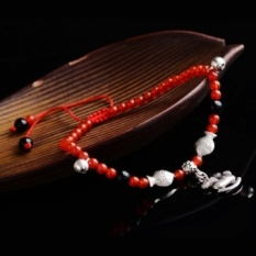 Natural black red agate handmade knitted red string anklets female male fine student natal lovers sterling silver beads transit