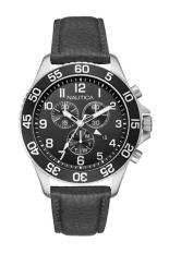 Nautica NAI15505G - Jam Tangan Pria - Strap leather - Silver-Hitam