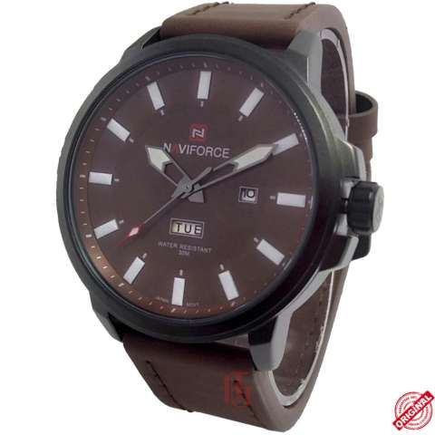 ... Naviforce D46H165NF9075MCKTT Daydate Jam Tangan Pria Leather Strap