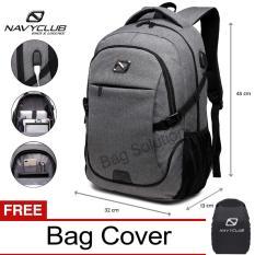 Navy Club Tas Ransel Laptop - Tas Pria Tas Wanita - Backpack built in USB Charger Up to 15 inch 62061 - Abu Bonus Cover Tas