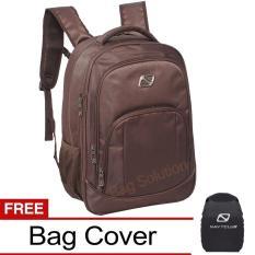 Navy Club New Arrival Tas Ransel Laptop - Tas Pria Tas Wanita Tas Laptop - Backpack Expandable Up to 15 inch Anti Air 5906 - Coffee Bonus Bag Cover