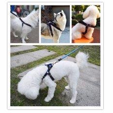 Tidak Menarik Padded Adjustable Dog Harness Vest Heavy Duty Denim Pet Tali Tuntun Set untuk Besar/Medium/Kecil/Anjing Kucing Biru M-Intl