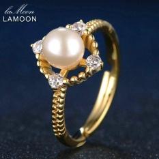 OH LAMOON Natural Round Mutiara Cincin 925 Sterling Silver Jewelry 14 K Emas RI028 Putih & Kuning-Intl