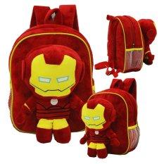 Onlan Iron Man Tas Ransel Boneka Anak Ukuran Play Group Bahan Yelvo Lembut dan Halus - Merah Maron