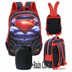 Onlan Superman Otot 6D Timbul Hard Cover Tas Ransel Anak Sekolah SD Import + RAIN COVER - Blue