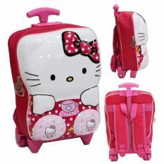 Onlan Tas Trolley Anak Perempuan TK atau PG Bahan Hard Cover - Pink