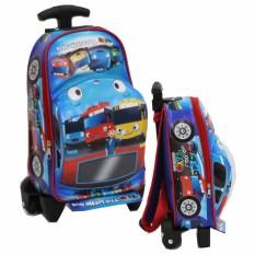 Onlan Tas Trolley Anak Sekolah PAUT BUS TAYO Bentuk Mobil Unik - Biru