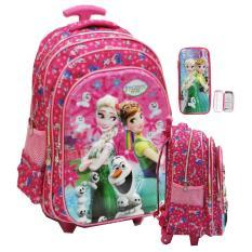 Onlan Tas Trolley Anak Sekolah SD Ada 3 Kantung Frozen Fever 5D Timbul Hologram Import + Kotak Pensil Timbul Jumbo - Pink