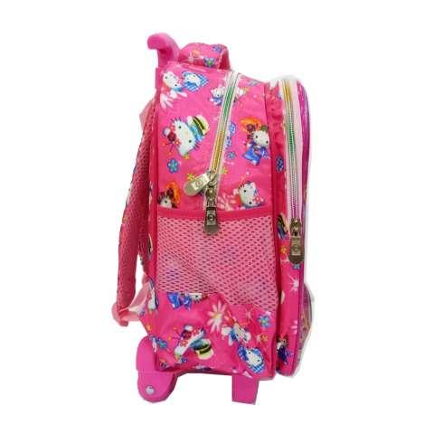 Onlan Tas Trolley Anak Sekolah TK Dua Kantung Hello Kitty 5D Timbul Hologram Import - Pink