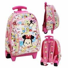 Onlan Tas Trolley Anak Sekolah Paut Karakter Anak Perempuan - Pink