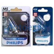 Paket Philips BlueVision H6 M5 35W 4000K Kaki1 dan Blue Vision White Light T10 W5W - Lampu Motor