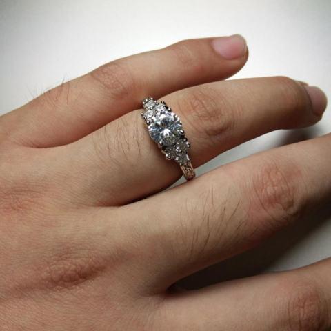 Phoenix B2C Women Mewah Rhinestone Safir Putih Pernikahan Cupronickel Cincin Perhiasan Hadiah 7-Intl