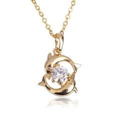 Bermain Pasangan Dolphin Kristal Kalung Lady Pendant Rantai Perhiasan Emas
