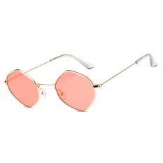 Poligon Kepribadian Kecil Kotak Sunglasses Ocean Film Kacamata Fashion Berjemur Kacamata-emas Bingkai Film Merah-Intl