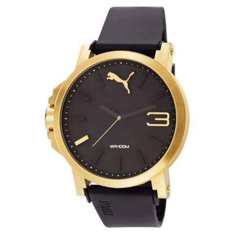 PUMA PU103462013 - Ultra Size - Jam Tangan Unisex - Bahan Tali Rubber - Hitam - Case Gold