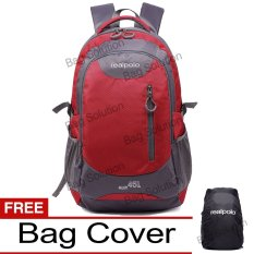 Real Polo Tas Ransel Kasual Jumbo 6333 Backpack XL Bonus Bag Cover - Merah