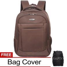 Real Polo Tas Ransel Laptop Tahan Air - Tas Pria Tas Wanita 8313 Backpack Up to 15 inch Bonus Bag Cover - Coffee