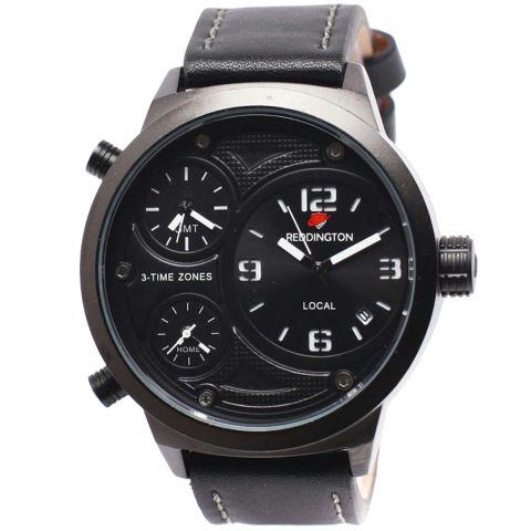 Rd 2999h Coklat Reddington Rd3002M Triple Time Jam Tangan Pria Leather Strap Hitam List Putih