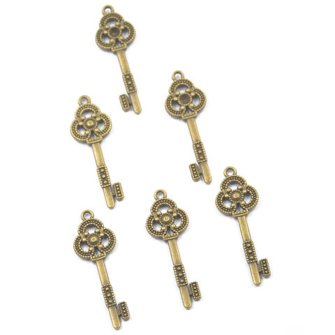 RIS 6 Pcs Perunggu Antik Bunga Kunci Hiasan Liontin untuk DISEDUH SENDIRI Membuat Perhiasan 1