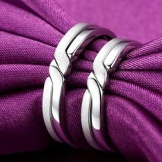 S925 Silver Tidak Pernah Terpisah Cincin Pasangan untuk Pria dan Wanita Korea Versi Ring Perhiasan Perak Satu Sepasang Siswa Ulang Tahun Lettering (model Wanita 17 (plating Platinum) -Intl