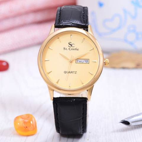 Saint Costie Original Brand, Jam Tangan Pria - Body Gold - Gold Dial - Black
