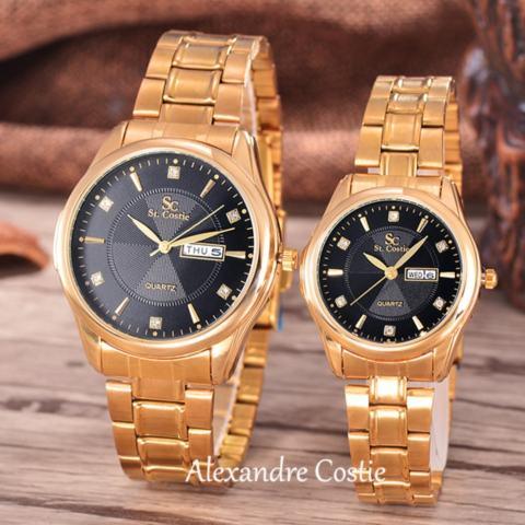 Saint Costie Original Brand, Jam Tangan Pria dan Wanita - Body Gold - Black Dial