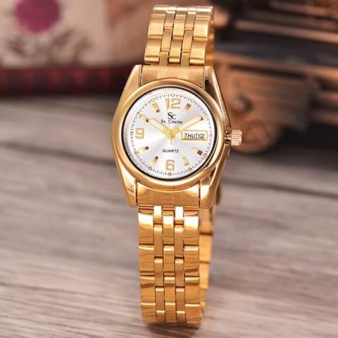 Saint Costie Original Brand-Jam Tangan Wanita-Body gold-White dial-Stainless