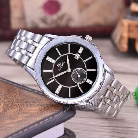 Saint Costie Original Brand, Jam Tangan Wanita - Body Silver - Black Dial - Stainless