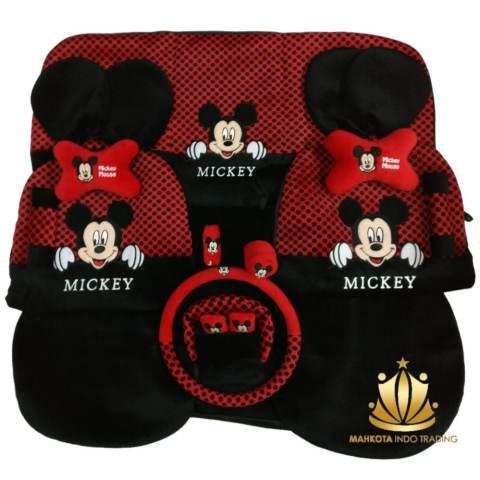 Sarung Jok 18in1 / Car Set / Bantal Mobil Mickey Mouse Merah/Hitam Jazz,