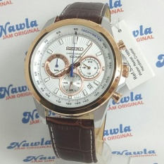 Seiko Quartz SSB250P1 Chronograph Brown Leather  Jam Pria SSB250