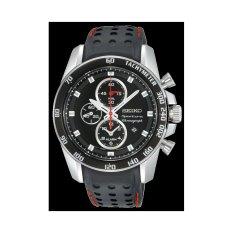 Seiko Sportura Chronograph Jam Tangan Pria - Hitam - Kulit - SNAE69P2