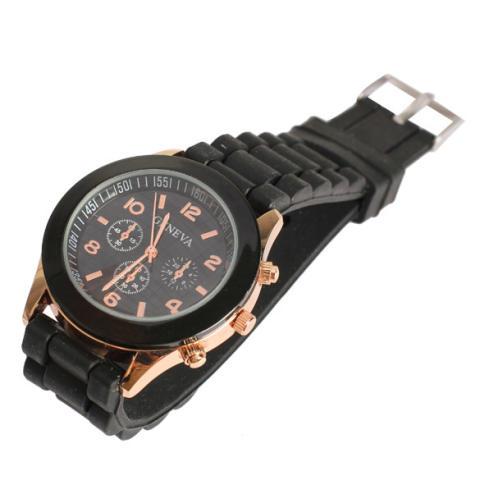 Silicone Jelly QUARTZ Sports Wrist Watch Unisex Bergaya Yang Tepat Hitam-Intl 3