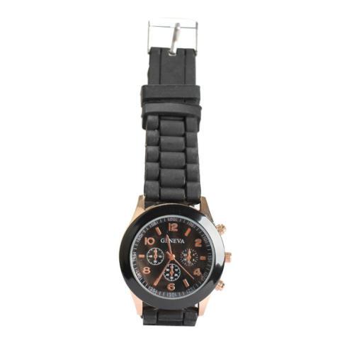 Silicone Jelly QUARTZ Sports Wrist Watch Unisex Bergaya Yang Tepat Hitam-Intl 2