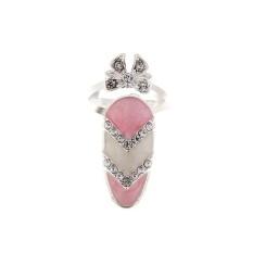 Silver Gold Ikatan Simpul Manis Crown Rhinestone Pearl Nail Ring Style 2-Intl