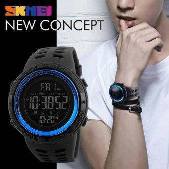 SKMEI 1251 Pria Olahraga 50 M Tahan Air Countdown Double Jam Tangan Alarm Chrono Digital Jam