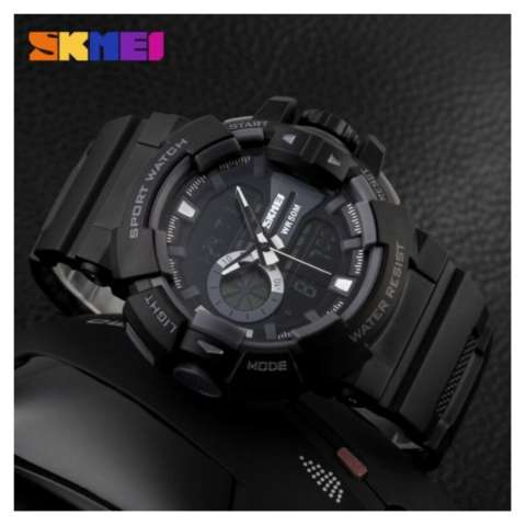 50m AD1117 Jam Tangan Pria Tali Strap Karet Digital Alarm Wristwatch Wrist Watch .