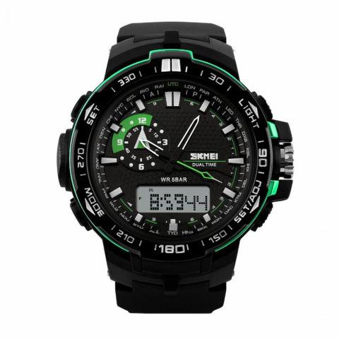 SKMEI Casio Sport LED AD1081 Jam Tangan Water Resistant 50m - Hitam/Hijau