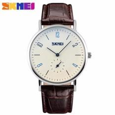 SKMEI Casual Men Leather Strap Watch 9120CL Water Resistant Anti Air WR 30m Jam Tangan Pria Strap Tali Kulit Elegant Formal Kerja Macho Design Wristwatch - Hitam
