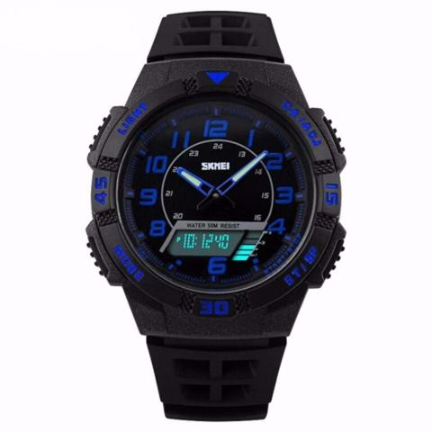 SKMEI Dual Time Men Sport LED Watch Anti Air Water Resistant WR 50m AD1065 Jam Tangan