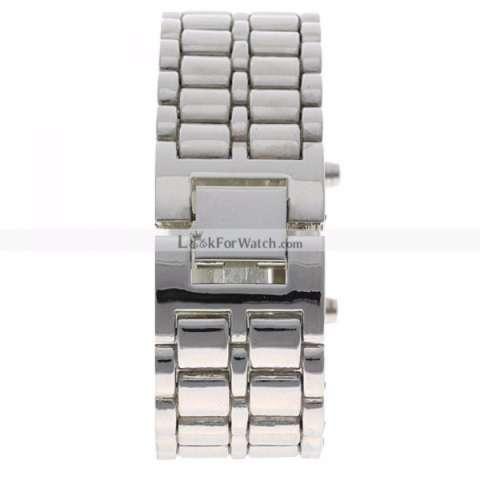 ... SKMEI Iron Samurai Silver Led Biru Jam Tangan Pria Rantai Stainless 8061 Silver