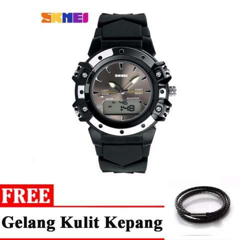 SKMEI Jam Tangan Analog Digital Pria - Black + free 1x Gelang Kulit