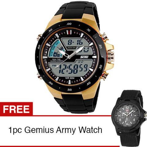 SKMEI Jam Tangan Digital Sports Men Watch - Gold + Gratis 1pc Gemius Army  Men Watch 3e5df8aa2f