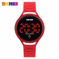 SKMEI Jam Tangan LED Touch Wanita 1230A Tali Karet Silicone Strap Water Resistant Anti Air WR 30m Sport Fashion Casual Ladies Girl Watch - Merah