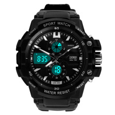 SKMEI Men Sport Analog LED Watch Anti Air Water Resistant WR 50m AD0990 Jam Tangan Pria Tali Strap Karet Wrist Watch Date Alarm Sporty Fashion Design - Hitam Putih