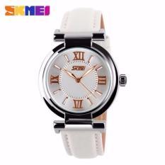 SKMEI Ladies Analog Jam Tangan Wanita Anti Air Water Resistant WR 30m 9075CL Strap Leather Kulit Eldrina Casual Fashion Watch - Putih