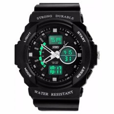 SKMEI S-Shock Sport Analog Digital Watch Water Resistant Anti Air WR 50m AD0955 Jam Tangan Pria Dual Time Tali Strap Karet Silicone Wristwatch Wrist Watch Sporty Fashion Design - Hitam