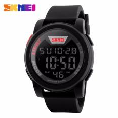 SKMEI Sport Men LED Watch Anti Air Water Resistant WR 50m DG1218 Jam Tangan Pria Tali Strap Karet Digital Alarm Wristwatch Wrist Watch Fashion Accessories Stylish Trendy Model Baru Sporty Design - Hitam