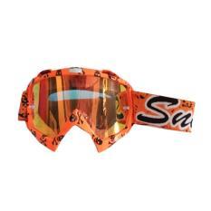 Snail Kacamata Cross (Goggles) MX18 Kaca Pelangi - Motif Tengkorak Orange