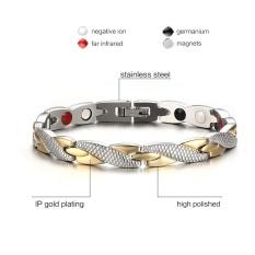 Stainless Steel Gelang Negatif Ion Inframerah Jauh Magnet Germanium Kesehatan Gelang Fashion Perhiasan Pria dan Wanita Hadiah-Intl